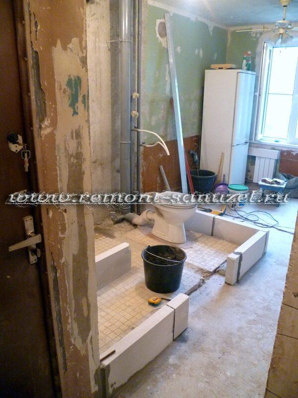 Ремонт ванной комнаты и туалета с перепланировкой под ключ. .